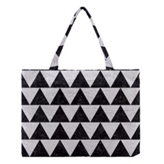 Triangle2 Black Marble & White Leather Medium Tote Bag