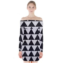 Triangle2 Black Marble & White Leather Long Sleeve Off Shoulder Dress