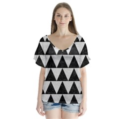 Triangle2 Black Marble & White Leather V Neck Flutter Sleeve Top