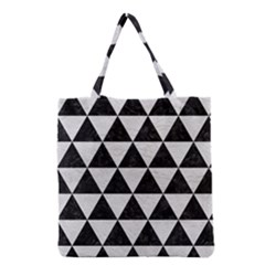 Triangle3 Black Marble & White Leather Grocery Tote Bag