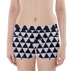 Triangle3 Black Marble & White Leather Boyleg Bikini Wrap Bottoms