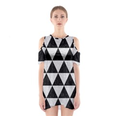 Triangle3 Black Marble & White Leather Shoulder Cutout One Piece