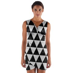 Triangle3 Black Marble & White Leather Wrap Front Bodycon Dress