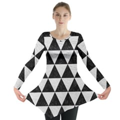Triangle3 Black Marble & White Leather Long Sleeve Tunic