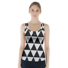 Triangle3 Black Marble & White Leather Racer Back Sports Top