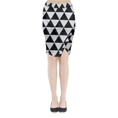 Triangle3 Black Marble & White Leather Midi Wrap Pencil Skirt