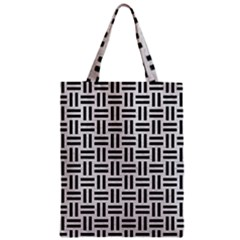 Woven1 Black Marble & White Leather Zipper Classic Tote Bag