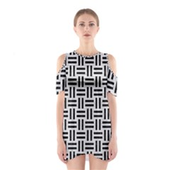 Woven1 Black Marble & White Leather Shoulder Cutout One Piece