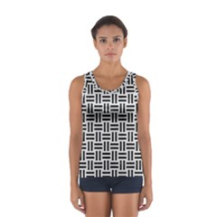 Woven1 Black Marble & White Leather Sport Tank Top