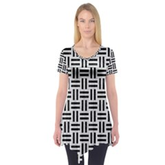 Woven1 Black Marble & White Leather Short Sleeve Tunic