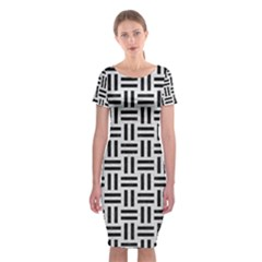 Woven1 Black Marble & White Leather Classic Short Sleeve Midi Dress