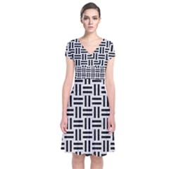 Woven1 Black Marble & White Leather Short Sleeve Front Wrap Dress