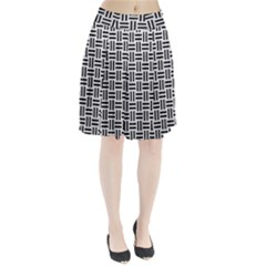 Woven1 Black Marble & White Leather Pleated Skirt