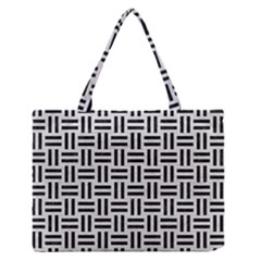 Woven1 Black Marble & White Leather Zipper Medium Tote Bag