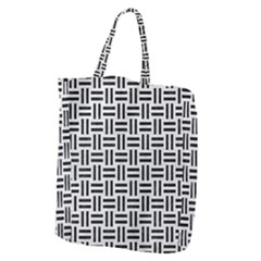 Woven1 Black Marble & White Leather Giant Grocery Zipper Tote