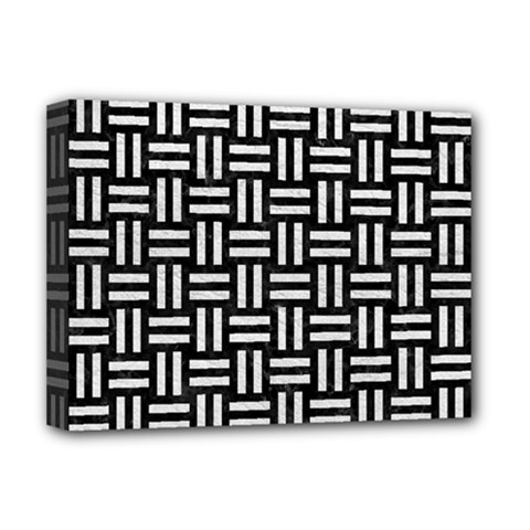 Woven1 Black Marble & White Leather (r) Deluxe Canvas 16  X 12