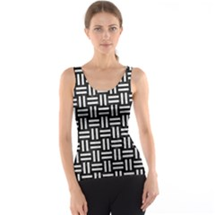 Woven1 Black Marble & White Leather (r) Tank Top