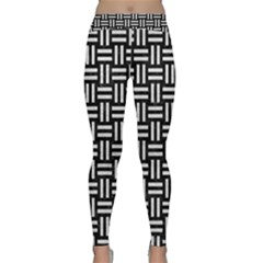 Woven1 Black Marble & White Leather (r) Classic Yoga Leggings