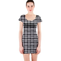 Woven1 Black Marble & White Leather (r) Short Sleeve Bodycon Dress