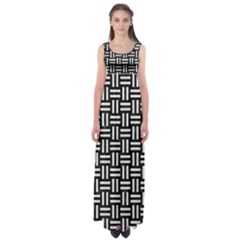 Woven1 Black Marble & White Leather (r) Empire Waist Maxi Dress