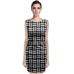 Woven1 Black Marble & White Leather (r) Classic Sleeveless Midi Dress