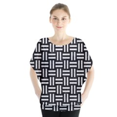 Woven1 Black Marble & White Leather (r) Blouse