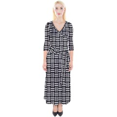 Woven1 Black Marble & White Leather (r) Quarter Sleeve Wrap Maxi Dress