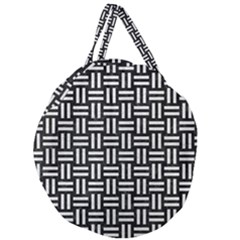 Woven1 Black Marble & White Leather (r) Giant Round Zipper Tote