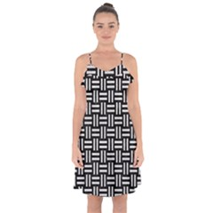 Woven1 Black Marble & White Leather (r) Ruffle Detail Chiffon Dress
