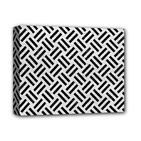 Woven2 Black Marble & White Leather Deluxe Canvas 14  X 11