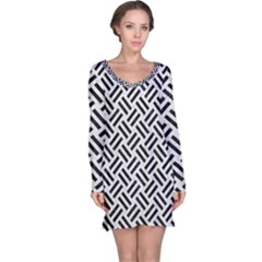 Woven2 Black Marble & White Leather Long Sleeve Nightdress