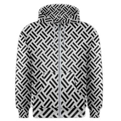 Woven2 Black Marble & White Leather Men s Zipper Hoodie