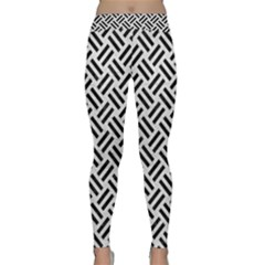 Woven2 Black Marble & White Leather Classic Yoga Leggings
