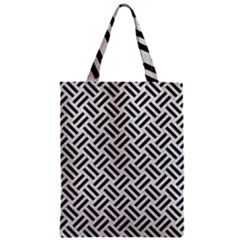 Woven2 Black Marble & White Leather Zipper Classic Tote Bag