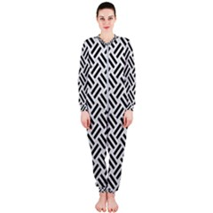 Woven2 Black Marble & White Leather Onepiece Jumpsuit (ladies)