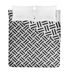 Woven2 Black Marble & White Leather Duvet Cover Double Side (full/ Double Size)