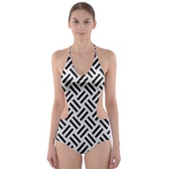 Woven2 Black Marble & White Leather Cut Out One Piece Swimsuit