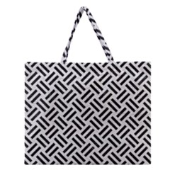 Woven2 Black Marble & White Leather Zipper Large Tote Bag