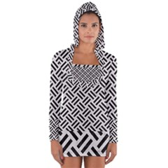 Woven2 Black Marble & White Leather Long Sleeve Hooded T Shirt