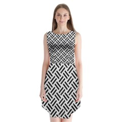 Woven2 Black Marble & White Leather Sleeveless Chiffon Dress