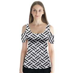 Woven2 Black Marble & White Leather Butterfly Sleeve Cutout Tee