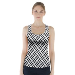 Woven2 Black Marble & White Leather Racer Back Sports Top