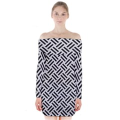 Woven2 Black Marble & White Leather Long Sleeve Off Shoulder Dress