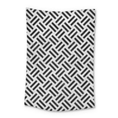 Woven2 Black Marble & White Leather Small Tapestry
