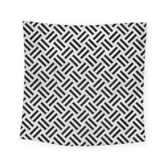 Woven2 Black Marble & White Leather Square Tapestry (small)