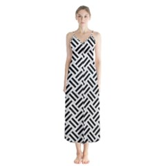 Woven2 Black Marble & White Leather Button Up Chiffon Maxi Dress
