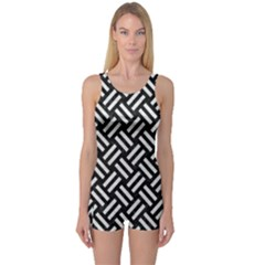 Woven2 Black Marble & White Leather (r) One Piece Boyleg Swimsuit