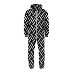 Woven2 Black Marble & White Leather (r) Hooded Jumpsuit (kids)