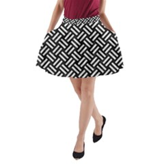 Woven2 Black Marble & White Leather (r) A Line Pocket Skirt