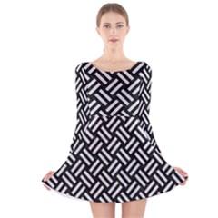 Woven2 Black Marble & White Leather (r) Long Sleeve Velvet Skater Dress